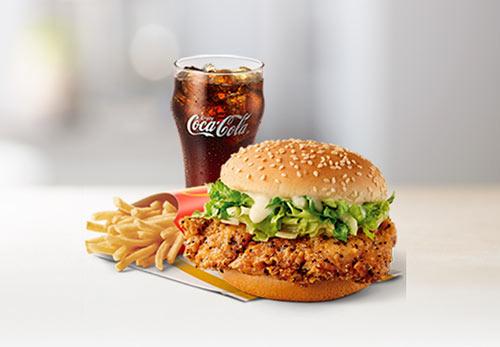 麦当劳酷辣黑椒鸡腿堡套餐